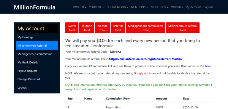 Get paid to refer people to MillionFormula. $0.06/signup