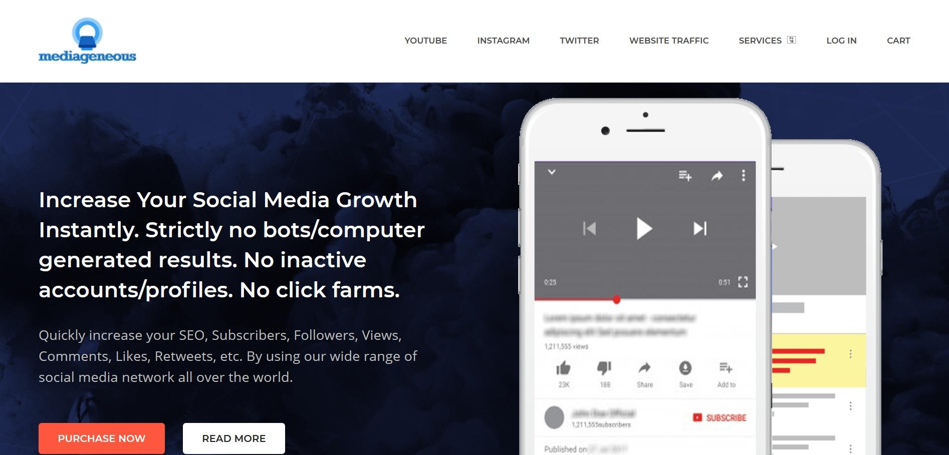 Buy advertising for youtube,twitter,website,instagram,facebook, pinterest and more Media Geneous